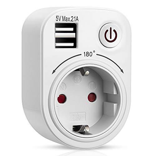 RAVPHICS USB Steckdose, Steckdosenadapter mit 2 USB Anschluss, 180°drehbare Stromstifte, Steckdose mit Schalter für Haushaltsgerät, iPhone, Smartphone usw. (Weiß)