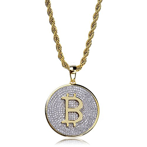 TOPGRILLZ Hip Hop Fully Iced Out CZ Cluster Simulated Diamond 14K Gold Plated Bitcoin Cryptocurrency Pendant Necklace with 24 Stainless Chain (Brass BTC)