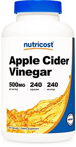 Nutricost アップルサイダービネガーカプセル500 mg、ベジカプセル240カプセル - エクストラストレングス、非GMO、グルテンフリー