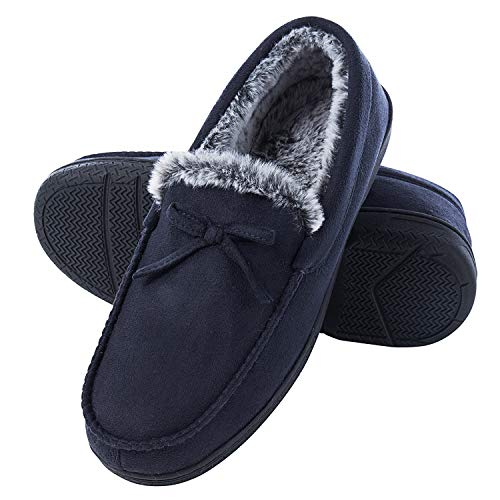 DL Men-Moccasin-Slippers-Indoor-Outdoor, Suede Mens House Slippers with Memory Foam, Faux Fur Lining Bedroom Slippers for Men Non Slip Outsole Navy