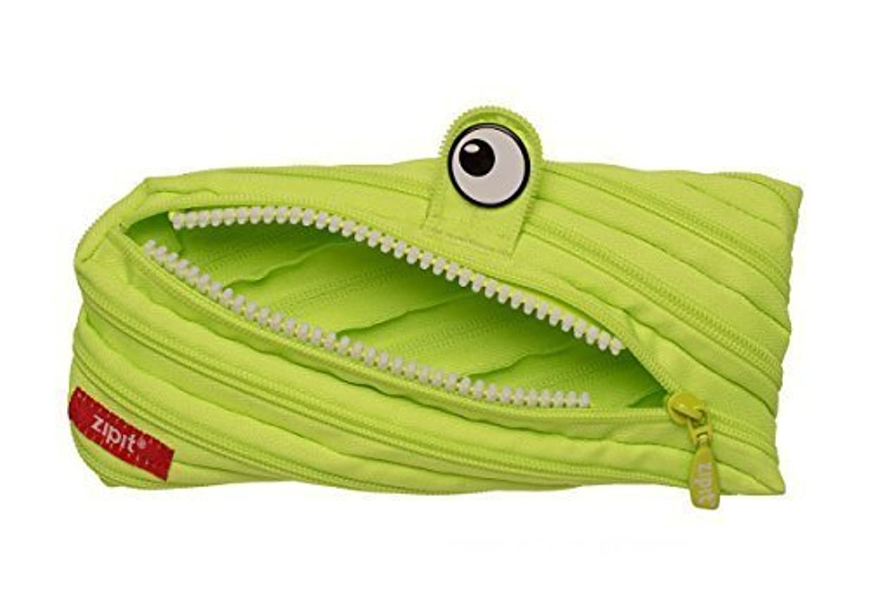 階層サンダース平均ZIPIT Monster Pencil Case, Bright Lime, 8.6