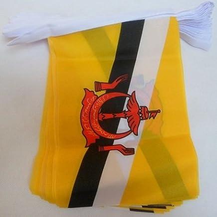 AZ FLAG 文莱 6 米聚结旗帜 20 旗帜 9 x 6 英寸 - 文莱文串旗帜 15 x 21 厘米
