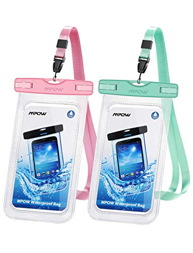 Mpow 097 Universal Waterproof Case, IPX8 Waterproof Phone Pouch Dry Bag Compatible for iPhone 11/11 Pro Max/Xs Max/XR/X/8/8P Galaxy up to 6.8', Phone Pouch for Beach Kayaking Travel or Bath (2 Pack)