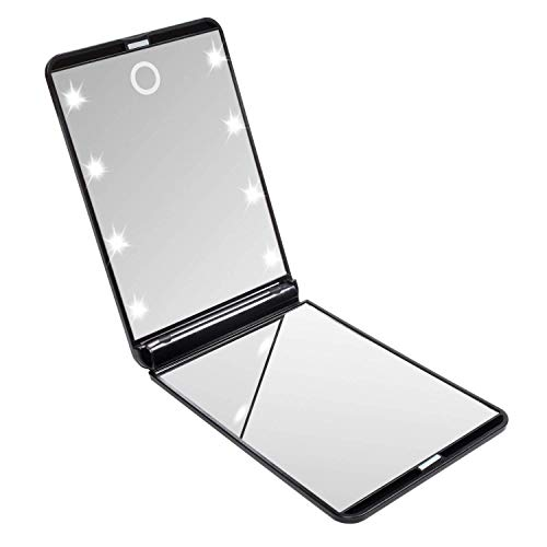 Miroir de Poche Pliable, Miroir Illuminé de Maquillage, Miroirs à Main, Grossissant 1x / 2X, pour Le Rasage Le Camping et Le Maquillage (Noir)