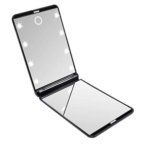 LURICO Espejo de Mano | Espejo de Bolsillo Compacto Iluminado LED - Aumento de 1X/2X - Plegable Espejo Cosmetico para Maquillaje Afeitado o Viaje (Negro)