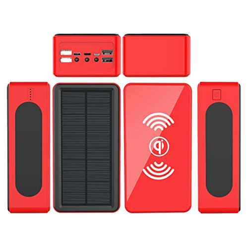 AP.DISHU Banco de Energía Solar 40000mAh, Cargador Solar portátil Cargador inalámbrico Qi, 4 Modo Iluminación con 4 Outputs Power Bank para iPad, Samsung y Viajes Cámping,Rojo,50000mAh