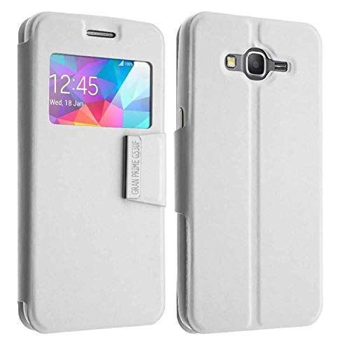 Coque Protection Pochette pour Samsung Galaxy Grand Prime, Blanc