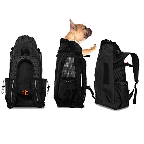WLDOCA Mochila Portador para Perros Plegable Transpirable - Bolsa de Transportín Viaje para Mascotas Perros Gatos - Cómodo y Seguro,Black,L