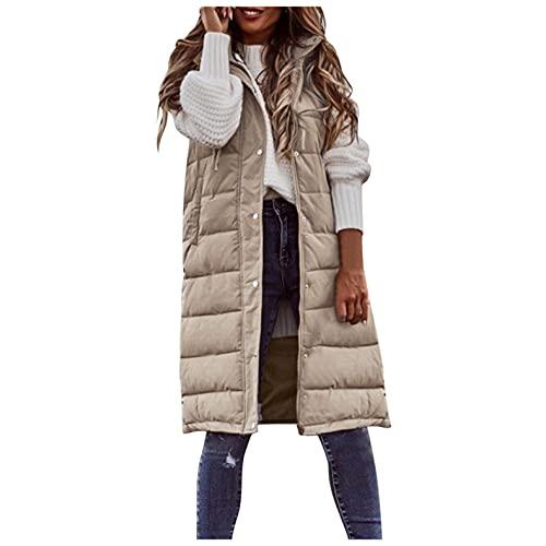 Daunenweste Damen Lang Winterjacke Daunenjacke Warm Weste Jacke mit Kapuze Steppjacke Wintermantel Casual Daunenmantel Slim Gilet mit Taschen