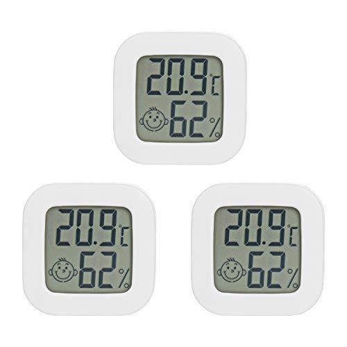 PAIRIER 3 Pezzi Mini LCD Igrometro Termometro Digitale Termoigrometro da Interno con l\'Icona di comforto per Casa Serra Ufficio Stanza