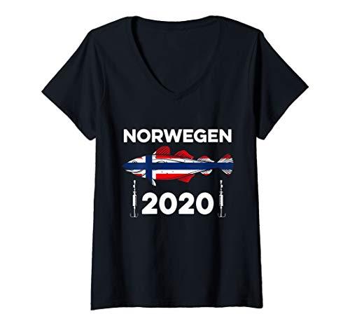 Damen Angel Tour Norwegen 2020 Flagge Dorsch Angelhaken Angeln T-Shirt mit V-Ausschnitt