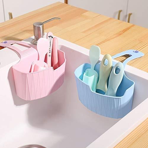 Cesta colgante de almacenamiento en rack de cocina drenaje for el desagüe del fregadero de cocina de plástico cesta Huangchuxin (Color : Blue)
