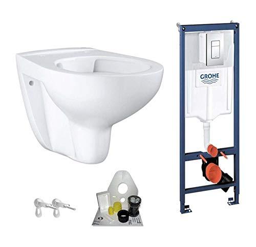 Grohe Vorwandelement mit Grohe WC spülrandlos mit Beschichtung, Komplett-Set, Drückerplatte chrom, eckig