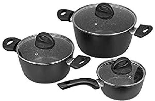 Jata Hogar BC3 Batería de Cocina, Aluminio Forjado, Negro, 24 cm