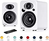 Steljes NS3 Powered Loud Speakers Bookshelf Speakers Stereo System 45W RMS 60Hz to 20kHz British Design Connect RCA, 3.5mm Stereo, Optical, Bluetooth, with Built-in Subwoofer USB Charge (Frost White)