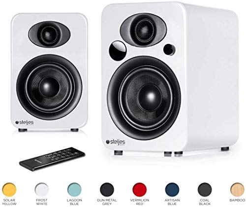 Steljes Audio NS3 Powered Loud Speakers Bookshelf Stereo System 45W RMS 60Hz to 20kHz British Design Connect RCA, 3.5mm Stereo, Optical, Bluetooth, with Built-in Subwoofer USB Charge (Frost White)