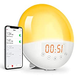 EEEKit Sunrise Alarm Clock, WiFi Smart Wake Up Light Alarm Clock, Sleep Aid Digital Alarm Clock with Sunset Simulation, FM Radio, Snooze, 8 Natural Sounds, 4 Alarms Supported for Adults & Kids
