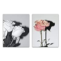 2パネルキャンバスアート絵画美しい花のポスタープリントスカンジナビアの壁の写真リビングルームの家の装飾フレームなし