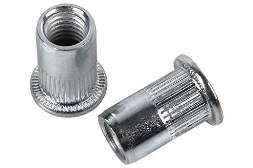 DOJA Industrial | M6 Gewindenieten Blindnietmutter | PACK 50 | Metrische Nietmuttern Stahl Galvanisch Verzinkt | Nietmutter Gewinde | Blindnietmuttern Sortiment | Einziehmuttern Nieten Rivet Set