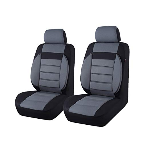 CAR PASS 6PCS Elegance Universal Two Front Car Seat Covers Set,Foam Back Support,Airbag Compatible (Black with Gray)