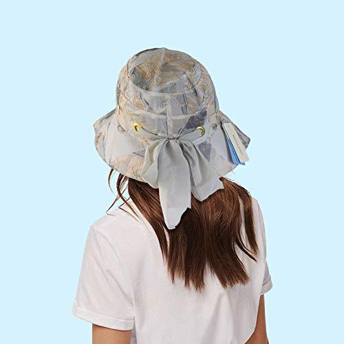 wopiaol Sombrero de Sol de Aleros Grandes para Mujer, Sombrero de Olla de Pescador Plegable de Verano, Playa de Verano, Sombrero para el Sol al Aire Libre Junto al mar