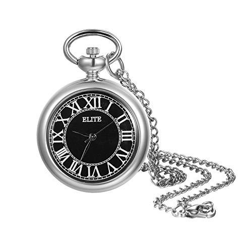 Lancardo Reloj de Bolsillo Retro con Cadena de Suéter Corta Fina Reloj de Cuarzo Caja Dial Negro con Números Romanos Blancos Reloj Analógico Sencillo para Hombre Mujer Unisex