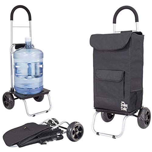 dbest products Cooler Trolley Dolly, Black Insulated cooler bag folding collapsible rolling shopping grocery tailgating bbq beer ice cart
