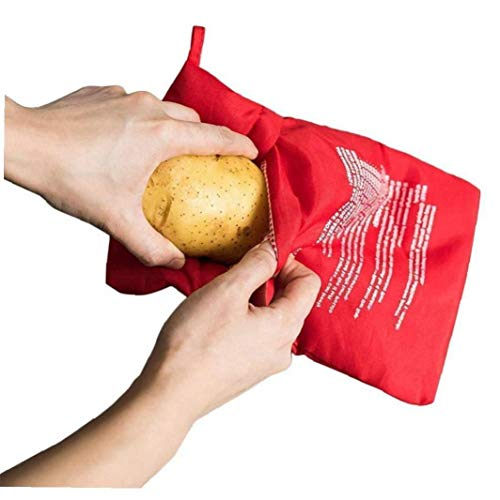 Amoyer Rojo Lavable Olla Bolsa de Patatas al Horno de microondas Cocinar la Patata Quick Fast (Cocineros 4 Patatas a la Vez)