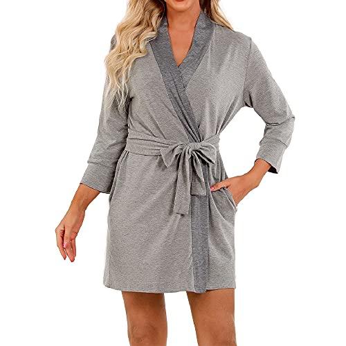 UMIPUBO Bata de mujer de manga larga con cinturón de cadera bolsillos 3/4, albornoz de sauna, pijama, kimono, cuello en V, pijama, pijama, para verano y otoño gris claro XXL