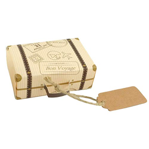 Garneck 50pcs Mini Suitcase Favor Box Party Candy Box Vintage Kraft Paper Candy Gift Boxes with Tags and Burlap Twine for Wedding Bridal Shower
