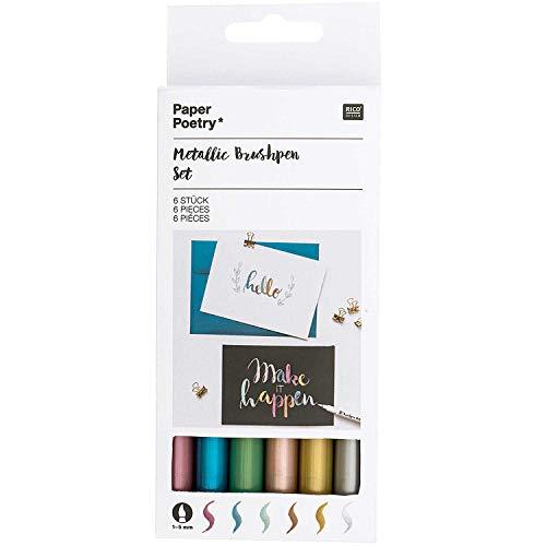 Rico Design Paper Poetry Metallic Brushpens 6 Stück - Pinselstift/Kalligraphie Stift für Handlettering - DIY