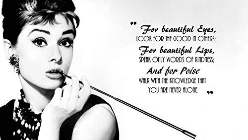 UYTRE Audrey Hepburn,Diamante Pintura Kits, DIY 5D Punto de Cruz Diamante Principiante, Diamante Craft Decoración de la pared del Hogar regalo de cumpleaños(H-40 cm x M/B-60 cm)