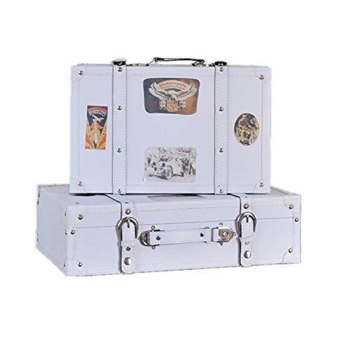 Boombee-Home Handgepäck Koffer Set 2 Schatztruhe AltweiĆ Aufbewahrungsbehälter-Koffer Gepäck, for Hauptdekor Zeigt Crafts Photoshoots Vintage Look (Farbe : Weiß, Größe : Large+small)