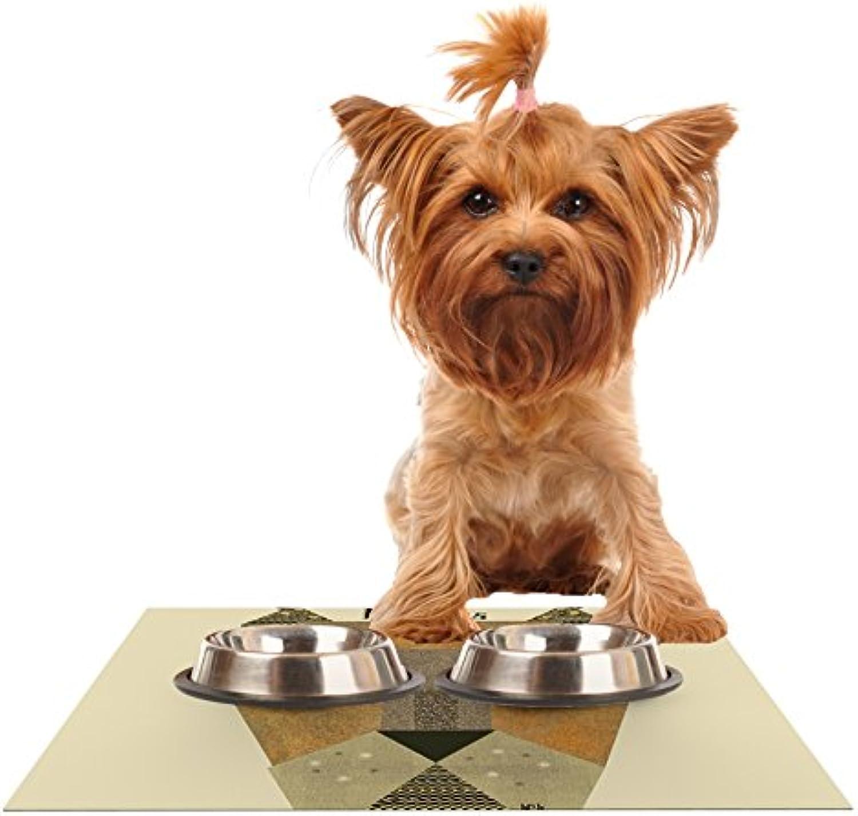 Kess InHouse Bri Buckley Lioness  Tan Yellow Feeding Mat for Pet Bowls, 24 by 15