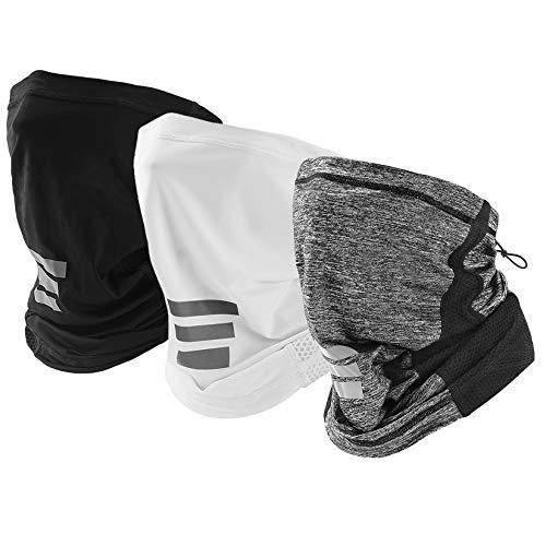 LANVO UV Protection Neck Gaiter, Adjustable Cooling Neck Gaiter for Men and Women, Dust Mask Bandana for Outdoor Running, Hiking, Cycling (3 Packs -Black+Grey+White)