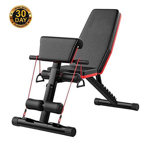 Adjustable Benches Adjustable Bench Heavy Duty Fitness Portable Weight Folding, Flat Incline Decline Multiuse Exercise Workout Bench, Home Gym Sit Up Bench