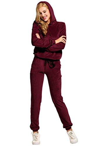 Unibelle Damen Hausanzug Velours Trainingsanzug mit Samtoptik Kapuzejacke mit Reißverschluss Hose mit Kordelzug und Taschen