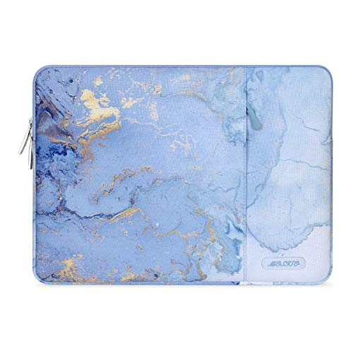 MOSISO Laptop Sleeve Case Compatible with 13-13.3 inch MacBook Pro, MacBook Air, Notebook Computer, Polyester Vertical Watercolor Marble Bag, Blue