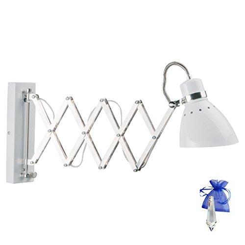 Schaarlamp, scharnier, wandlamp, industriële wit, fitting, E27, wandlamp, uittrekbaar voor LED- en gloeilamp met dimmer + giveaway