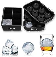 fylina stampo ghiaccio,set di 2 stampi per cubetti ghiaccio in silicone 6 palla di ghiaccio 6 cubo 100% senza bpa per stampo ghiaccio grande per alcolici cocktails,whisky