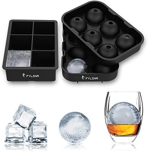 FYLINA Stampo Ghiaccio,Set di 2 Stampi per Cubetti Ghiaccio In Silicone 6 Palla di Ghiaccio 6 Cubo 100{ddf3e33556b209d42a01439ddcddc5a73b75e3ad409064dfdd1b4c341bcea7b9} Senza BPA per Stampo Ghiaccio Grande per Alcolici Cocktails,Whisky