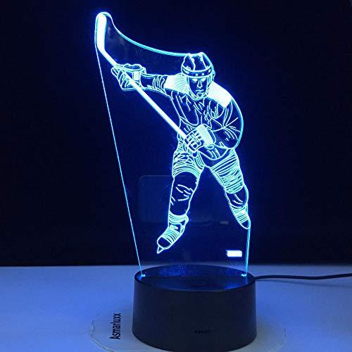 3D-Illusionslampe Led Nachtlicht Eishockey Thema 7 Farben ändern Berührung Stimmung Geburtstag Geschenk Tischlampe Wohnkultur Kindergeburtstag Weihnachtsgeschenke