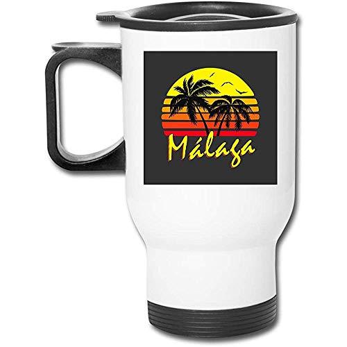 Malaga Vintage Sun 16 Unzen Edelstahl Tumbler doppelwandige Vakuumkaffeetasse mit spritzwassergeschütztem Deckel
