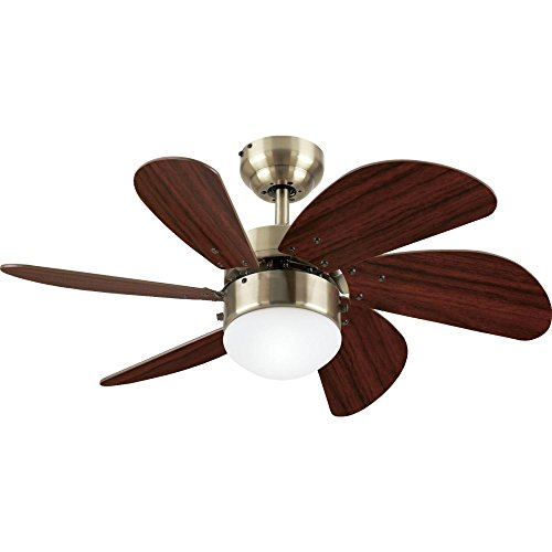 Westinghouse Lighting 7824865 Turbo Swirl Single-Light 30-Inch Six-Blade Ceiling Fan, Antique Brass with Frosted Globe