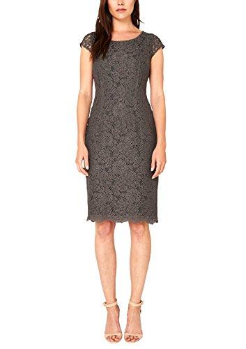 s.Oliver BLACK LABEL Damen Etui Kleid mit Alloverspitze, Knielang, Einfarbig, Gr. 36, Braun (taupe love 9605)