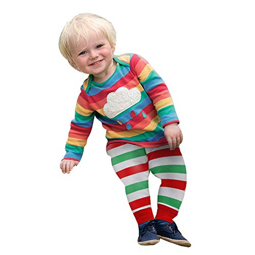 Lenfesh Lenfesh Kleinkind Kinder Baby Mädchen Junge Regenbogen-T-Shirt übersteigt gestreifte Ausstattungs Kleidung Kinder Pullover Pyjama Outfits Set
