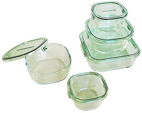 iwaki(イワキ)耐熱ガラス保存容器角型5点セットパック&レンジグリーンPS-PRN-5G