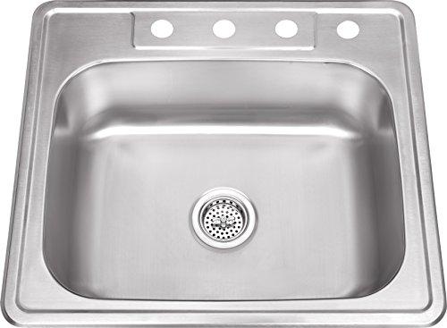 Soleil SSDP2522 25-in x 22-in Stainless Steel Single Bowl Drop In Kitchen Sink
