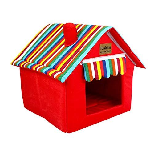 JEELINBORE Casa per Cani Interno Pieghevole Morbida Casetta Letto Cuscino per Cane e Gatti Animali Piccolo (Rosso, 40 * 40 * 49cm)