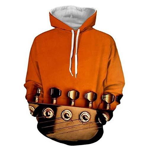 XYL HOME Hooded trui, Unisex realistische 3D gitaar tuner mode trui hoodie hooded sweatshirt trui